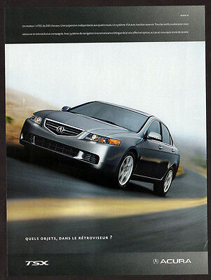 2005 ACURA TSX Original Print AD - Silver car photo, road, speed, 4-door sedan