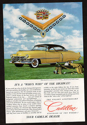 1952 CADILLAC Golden Anniversary Vintage Original Print AD coupe yellow car golf