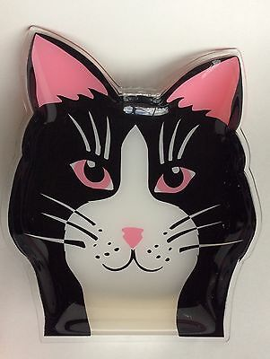 """Cat Tray Large Plastic Serving Tray Black White Pink Kitty Cat Face 11"""""""