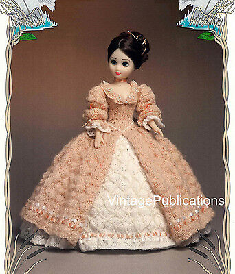 Dolls Dress Knitting Pattern .. Victorian Period Dolls Dress .. Laminated COPY