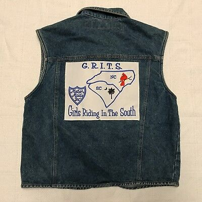 No Excuses Girls Riding in the South GRITS Denim Zip Up Motorcycle Vest (Size M)