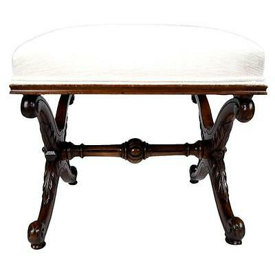 Unique French 19th Century Walnut Ottoman Bench New Upholstery