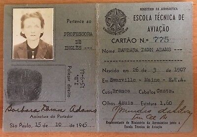 1945 BRAZILIAN AERONAUTICS MINISTRY ID CARD Woman AVIATION TEACHER Embry Riddle