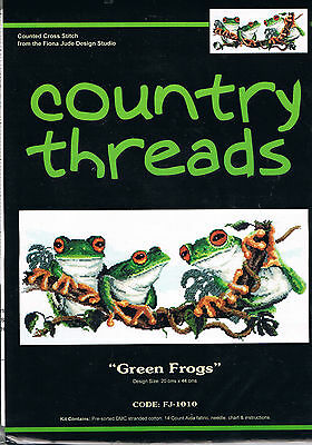 """"""" GREEN FROGS """"  Cross Stitch Kit,  Country  Threads"""