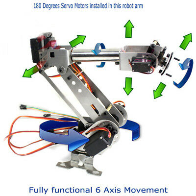 Fully Assembled 6 Axis Mechanical Robotic Arm Clamp für Arduino, Raspberry Neu·
