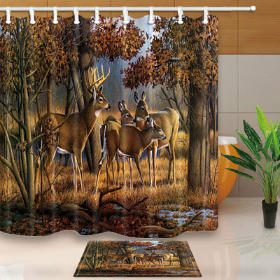 White Tailed Deer In The Forest Shower Curtain Bathroom Fabric 12hooks 7171in