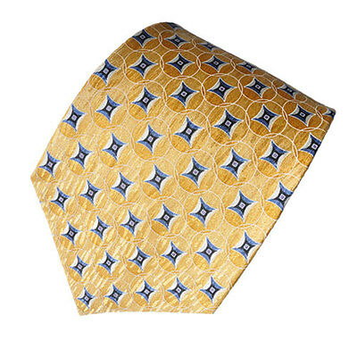 Men's gold and blue color  geometric patterned  100% silk neck tie