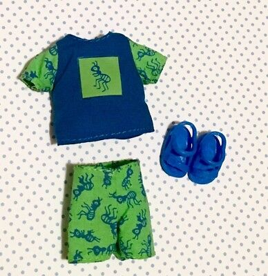 Tommy Barbie Doll Outfit - Green Blue Ants 🐜 Print Tee Shirt Shorts & Sandals