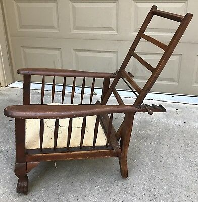 Antique Oak Chair Morris recliner claw feet ornate carvings 1900's Frame