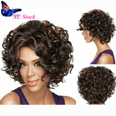 AU Women's Short Curly Hairstyle Wig Lace Hair Wigs Heat Resistant Synthetic