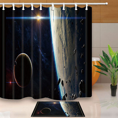 Cosmic Planet Shower Curtain Bathroom Waterproof Fabric 12hooks 7171inch