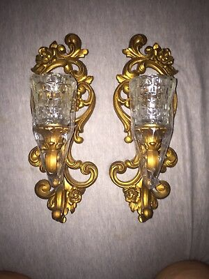 """Set of 2 Vintage 1971 Homco Gold Tone 15"""" Candle Holder Sconce Wall 4118"""