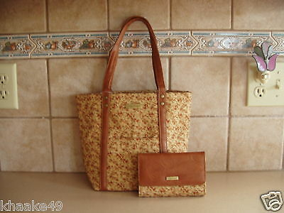 Longaberger Fall Vintage Floral Tote Purse And Wallet Set * Nip * Free Shipping