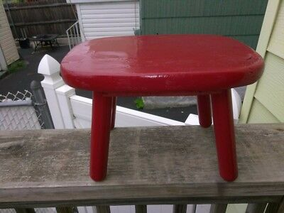 Antique Red Wood Stool
