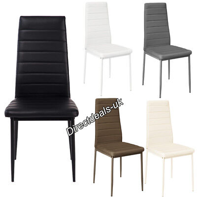 2 4 6 Faux Leather Padded Seat High Back Dinning Chairs Kitchen Living Room Home
