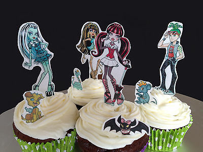20 x Monster High Edible Wafer Paper Cake Toppers