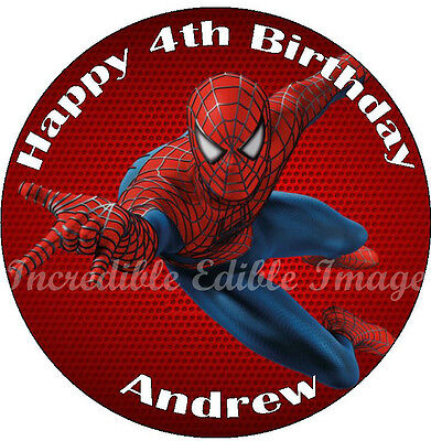 Round Spiderman Edible Cake Toppers Party Decoration