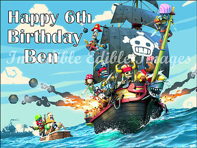 Pirates Personalised Edible Cake Toppers Party Decoration- Pirate Ship skull