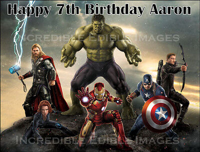 The Avengers Edible ICING Cake Topper Personalised Party Decoration