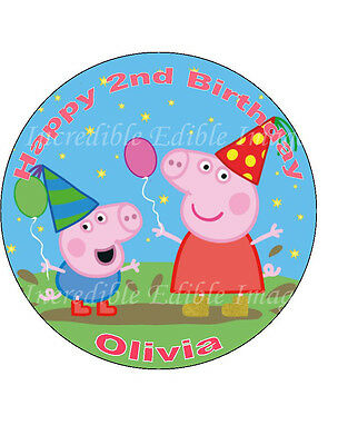 19cm Round Personalised Peppa Pig Edible ICING Cake Topper