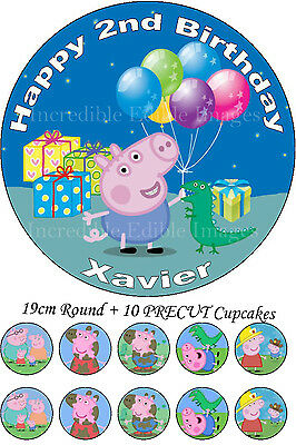 Peppa Pig George Edible Personalised Cake Topper Party Decoration + 10 Cupcakes