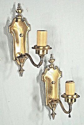 """Antique Pair Of Arch Top Urn Back Brass Electric Sconces Marked """"boston"""""""