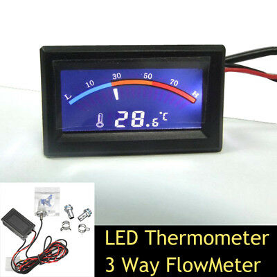 3 Way Flow Meter w/ LED Thermometer For Water Liquid Cooling Cooler System DC 5V