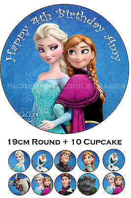 Frozen Edible Cake Topper Personalised Party Decoration + 10 Cupcakes PRECUT