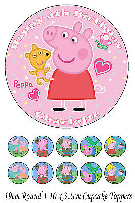 Personalised 19cm Round + 10x 3.5cm Peppa Pig Edible WAFER Cake Topper
