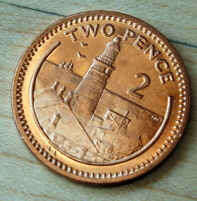 2000 Gibraltar 2 Pence Lighthouse Unc.