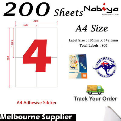 200 x 4 up 105 x 148mm Peel & Paste Label A4 Office Mailing Address label - 4UP