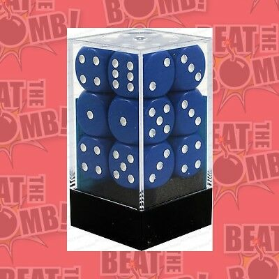 D6 Dice Opaque 16mm Blue/white (12 Dice In Display)  - BRAND NEW
