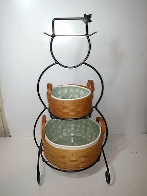 Longaberger Wrought Iron Snowman (Sm) with 2 Baskets and Aftermarket