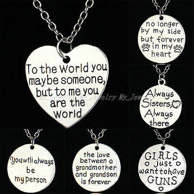Xmas Pendant Necklace Gifts Grandmother Grandson Mother Son Sister Love Lovers