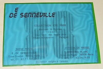INVITATION E de SENNEVILLE pour la Collection Eté 1988 en HOLOGRAVURE