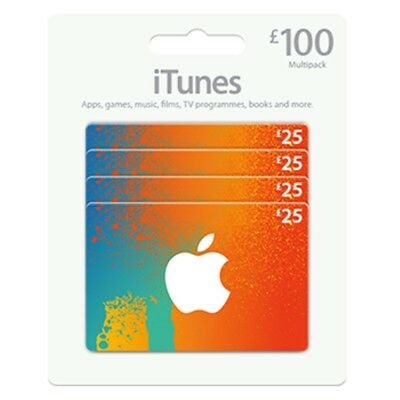 Itunes Card Apple Gift Card £25X4 £100 Delivery Fast Store Music Certificate