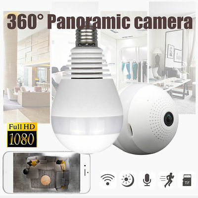 360degree Panoramic 1080P Hidden IR Camera Light Bulb Wifi FishEye CCTV Security