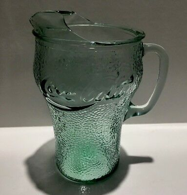 Coke Coca Cola Large Glass Jug Green Pebbled Surface I Collectable
