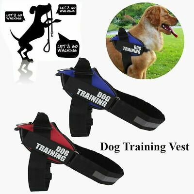 Reflective Service Dog Training Control Harness Vest Coat 2Removable Patches MA
