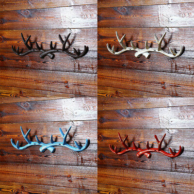 Chic Cast Iron Deer Antlers Wall Hooks Strong Coat Towel Clothes Hat Key Hanger