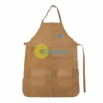 Welders Welding Apron Full Length Chrome Leather Tan Blacksmith Heavy Duty