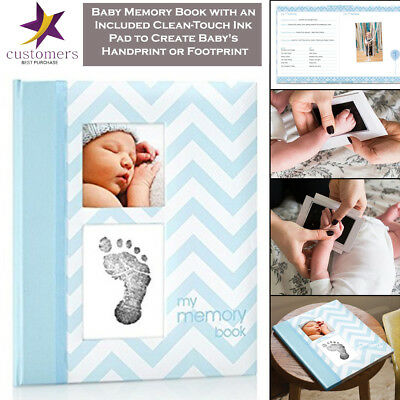 Pearhead Baby Memory Book Photo Journal Album Book with Clean-Touch Ink Pad
