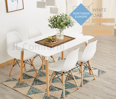JL New Eames White Dining Table / 2 x Chairs For Kitchen Dining Room Restaurant