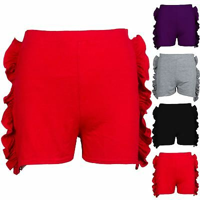 Kids Childrens Girls Side Peplum Ruffle Frill High Waisted Hot Pants Mini Shorts