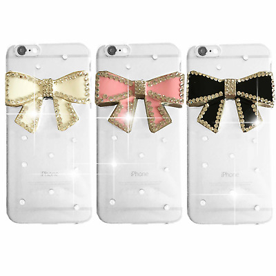New Delux Cool Luxury Bling Black Pink Bow Diamante Case 4 Various Mobile Phones