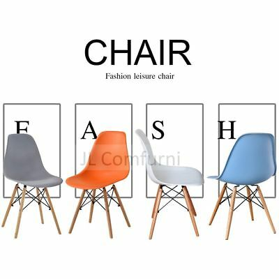 2 x Retro Chair Eames Inspired Plastic Fit Dining Room Kitchen Office Lounge