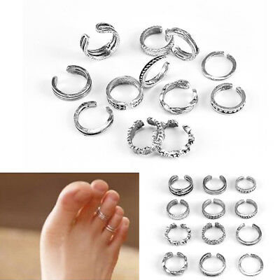 11Pcs Adjustable Silver Toe Rings /Midi Ring Carving Foot Jewellery Vintage Ring