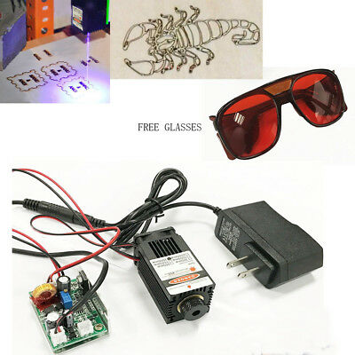 Blue Focusable Laser 300mW 450nm Module TTL Carving Burning Engraning Goggles