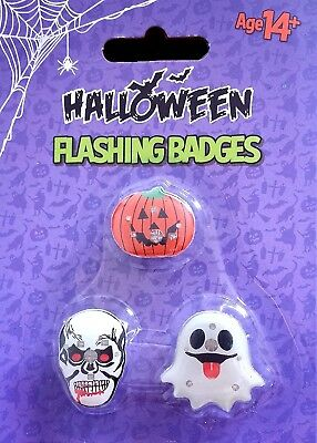 3x Halloween Flashing Badges Ghost Skull Pumpkin Trick or Treat Kids Party Decor
