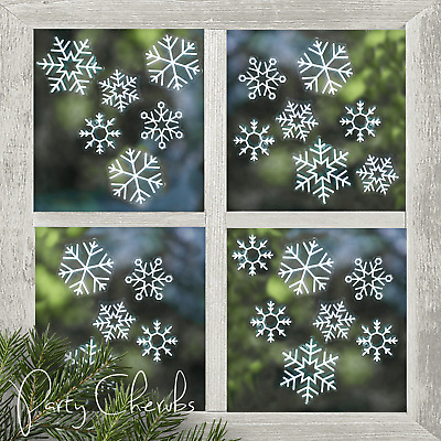Snowflake Christmas Window Stickers Re-usable x 24 - Lovely Christmas Decoration